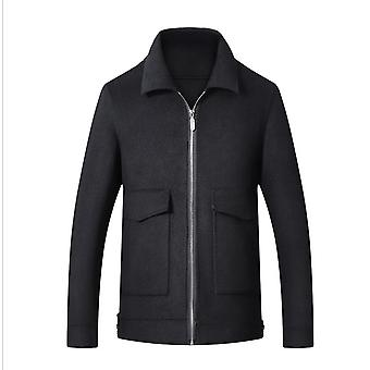 Men's Slim Fit Winter Warm Short Wool Blend Coat Business Jacket