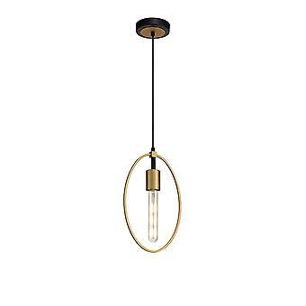Luminosa Beleuchtung - einzelne kleine Kreis Deckenanhänger, 1 Licht E27, Sand Gold, Matt schwarz