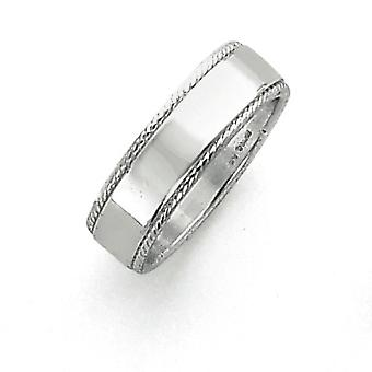 925 Sterling Silver Solid Polished Engravable 6mm Design Edge Band Ring - Ring Size: 4 to 12
