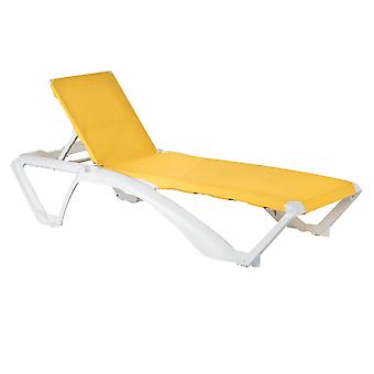 Resol 2 Piece Marina Garden Sun Lounger Bed Set - Adjustable Reclining Outdoor Patio Canvas Furniture - Yellow