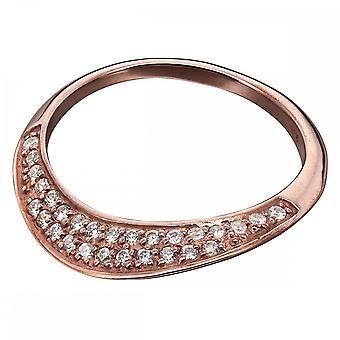 Элементы Серебряное розовое золото и кольцо CZ R3671C