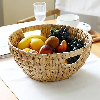 Natural Straw-weaved Disk Fruit Storage - Fruit Basket Desktop Storage Tray (wood Color)