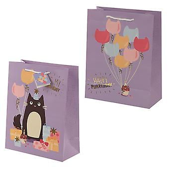 Feline Fine Happy Purrthday Cat Design Large Gift Bag
