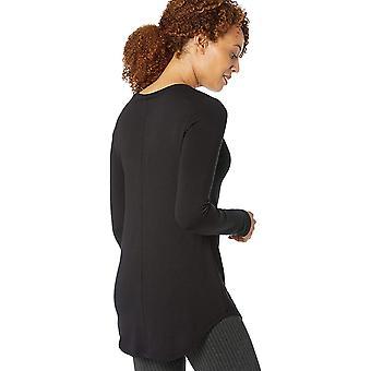 Merke - Daglig Ritual Dame Supersoft Terry Langermet Skjorte med Skjortehale Hem, Svart, Middels