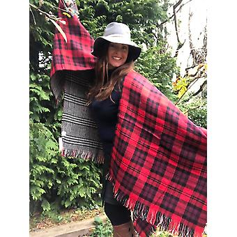 Belle Divino Quality Checked Stylish Poncho Warm Winter Orange / Black