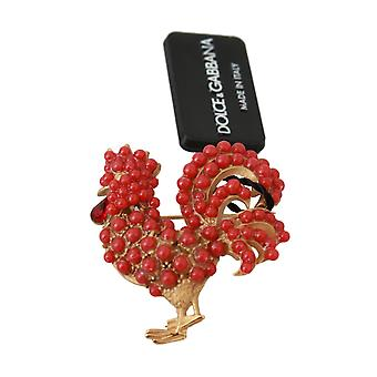 Gold Brass Red Crystal Rooster Catwalk Pin Brooch