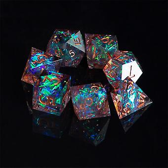 Dnd Role Playing Game-dice, Handgemaakte 7-die Polyhedral Mirror Dice Set