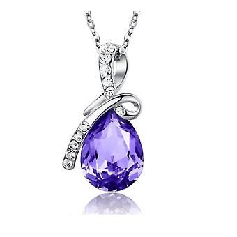 Evig kjærlighet Teardrop Swarovski Elements Crystal anheng halskjede - lilla