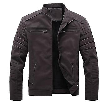 Autumn Winter Men's Leather Jackets, Motorcycle Pu Male Biker Coats