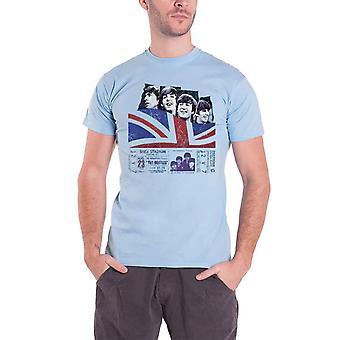 The Beatles T Shirt Shea stadium plakat bandet logo offisielle mens Blue
