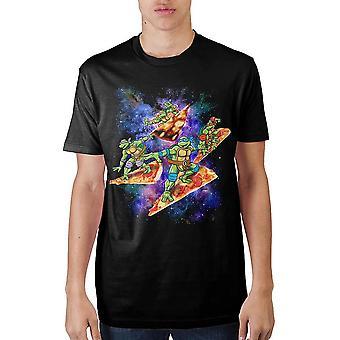 Teenage mutant ninja turtles pizza surfing in space t-shirt