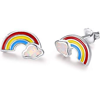 Rainbow Earrings 925 Sterling Silver Opal Earrings for girls kids