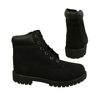 Timberland 6 بوصة الكلاسيكية الدانتيل حتى الشباب الصغار الأحذية الجلدية السوداء 12907 X4A