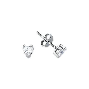 Jewelco London Rhodium Plated Sterling Silver Heart Cubic Zirconia Solitaire Stud Earrings 4mm