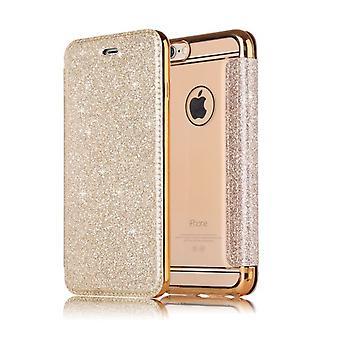 Apple iPhone XR glänzend Flip Flip Case mit Kartenschlitz - Gold