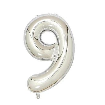 "Silver foil party balloon - 80cm (32"") - number 9"