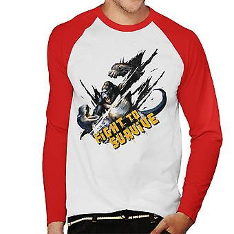 King Kong Vs T Rex Fight To Survive Men's Baseball Long Sleeved T-Shirt