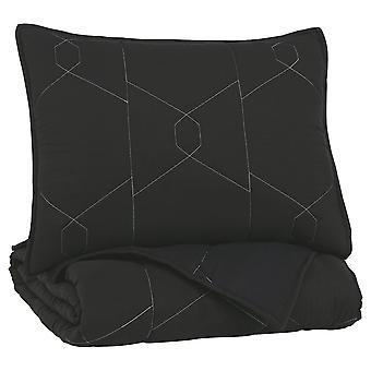 Conjunto de edredón de tela de tamaño doble cosido geométricamente con 1 Sham, negro