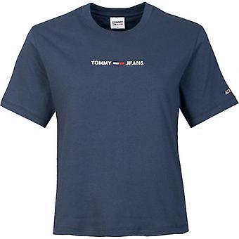 טומי ג'ינס Boxy ליניארי לוגו צוות צווארון חולצת טריקו