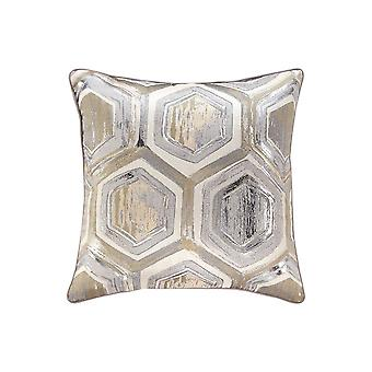 Fabric Pillow With Hexagonal Print And Zipper Closure, Set Of 4, Silver