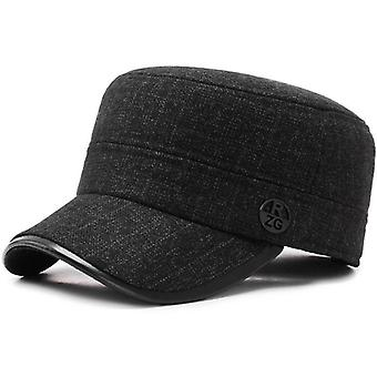 Men's Winter Warm Military Hats - Adjustable Flat Top Cap