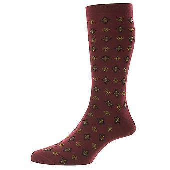 Pantherella Hanley Tile Motif Merino Wool Socks - Vinho