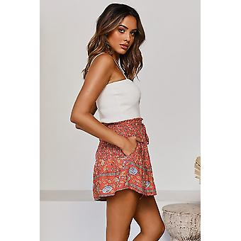 Sommer rot Floral Print A-Linie elastische Taille Boho Shorts