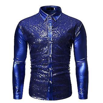Mannen's Metallic Shiny Nightclub Slim Fit Long Sleeve Button Down Party Shirts