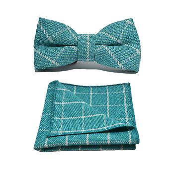 Cyan Birdseye Check Papillon &e Set quadrato tascabile