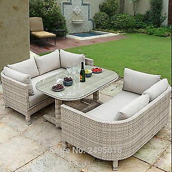 3 Stk Outdoor Dining Set, MetallRahmen Bedecken Set Allwetter, Rattan