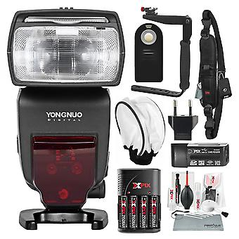 Yongnuo yn685 wireless ttl speedlite for canon cameras with flash bracket and di