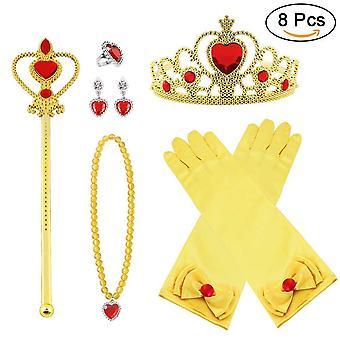 Vicloon princess costumes set of 9 pieces gift from tiara, gloves, magic wand, upgrade princess brai wof34825