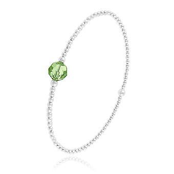 الفضة حقيقية سوار peridot الخضراء المصنوعة من الكريستال سواروفسكي