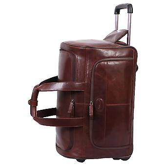 Ashwood Leather Large Wheeled Weekend Holdall - Brown