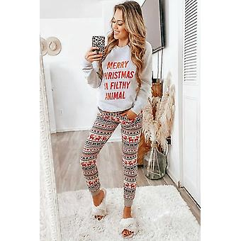 Women: n harmaa poro printti jouluhousu pyjama set