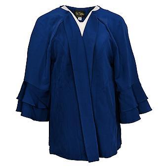 Du Jour Women's Plus Top Scoop-Neck Ruffle Sleeve Knit Blue A351816