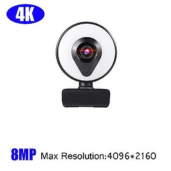 Webcam 4K Full HD Web Camera For PC Computer Laptop USB Microphone and Ring Light Webcams(4k)