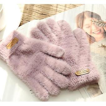 трикотажные перчатки, Зимний теплый сенсорный экран меховые перчатки