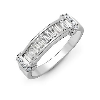 Jewelco London Solid 18ct White Gold Channel Set G SI1 0.52ct Diamond Dual Row Collared Eternity Ring 5.5mm