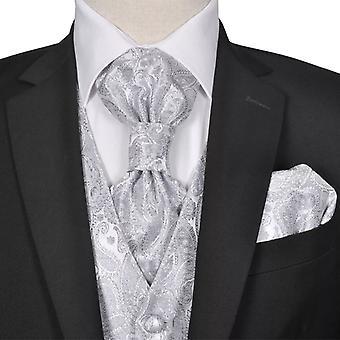 Set de gilets de mariage pour hommes Paisley Taille 50 Argent
