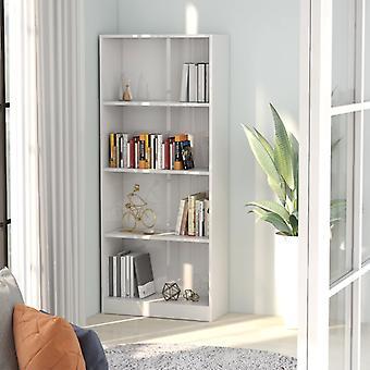 vidaXL Bookshelf 4 osastoa korkeakiiltoinen valkoinen 60 x 24 x 142 cm lastulevy