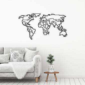 World Map-1 Accesorio de pared de metal decorativo negro