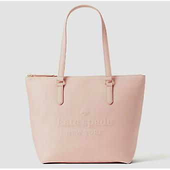 Kate Spade Larchmont Ave Logo Penny Pink Leather Large Tote WKRU5619