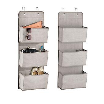 mDesign Fabric Over Door Hanging Storage Organizer, 3 Pocket, 2 Pack - Linnen/Tan