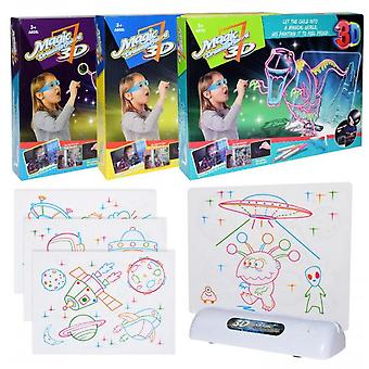 3d Fluorescent Led Drawing Board Creative Children's Drawing Set