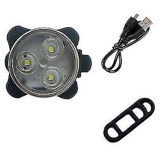 USB аккумуляторная велосипедная предупреждающая фары и задние фонари (белый)