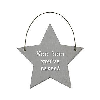 Woo Hoo You've Passed - Mini Wooden Hanging Star - Cracker Filler Gift