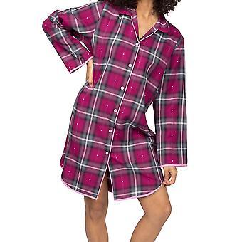 Cyberjammies Natasha 4946 Women's Pink Check Bavlněná noční košili