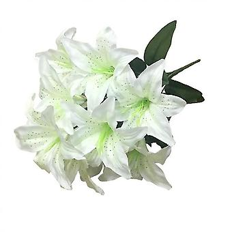 2pcs Artificial Lily 10 Heads Fake Lily Artificial Flower Wedding Party Decor(Milky White)