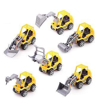 6kpl inertia kaivinkone kuorma-auton malli Diecast Vedä takaisin auto lelut